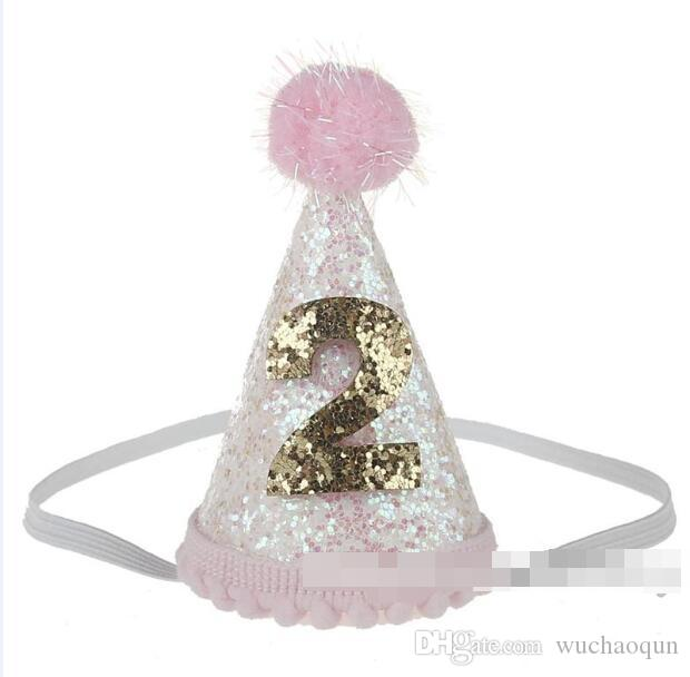 baby crown Headbands cone shape Hairband Kids glitter Birthday Headbands party supplies princess tiara Hat boutique hair accessories