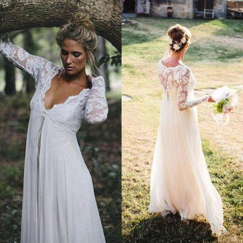 2016 Gorgeous Empire Waist Lace Chiffon Wedding Dresses Cheap High Quality Illusioin Long Sleeves Bridal Gowns for Maternity Pregnant Brides