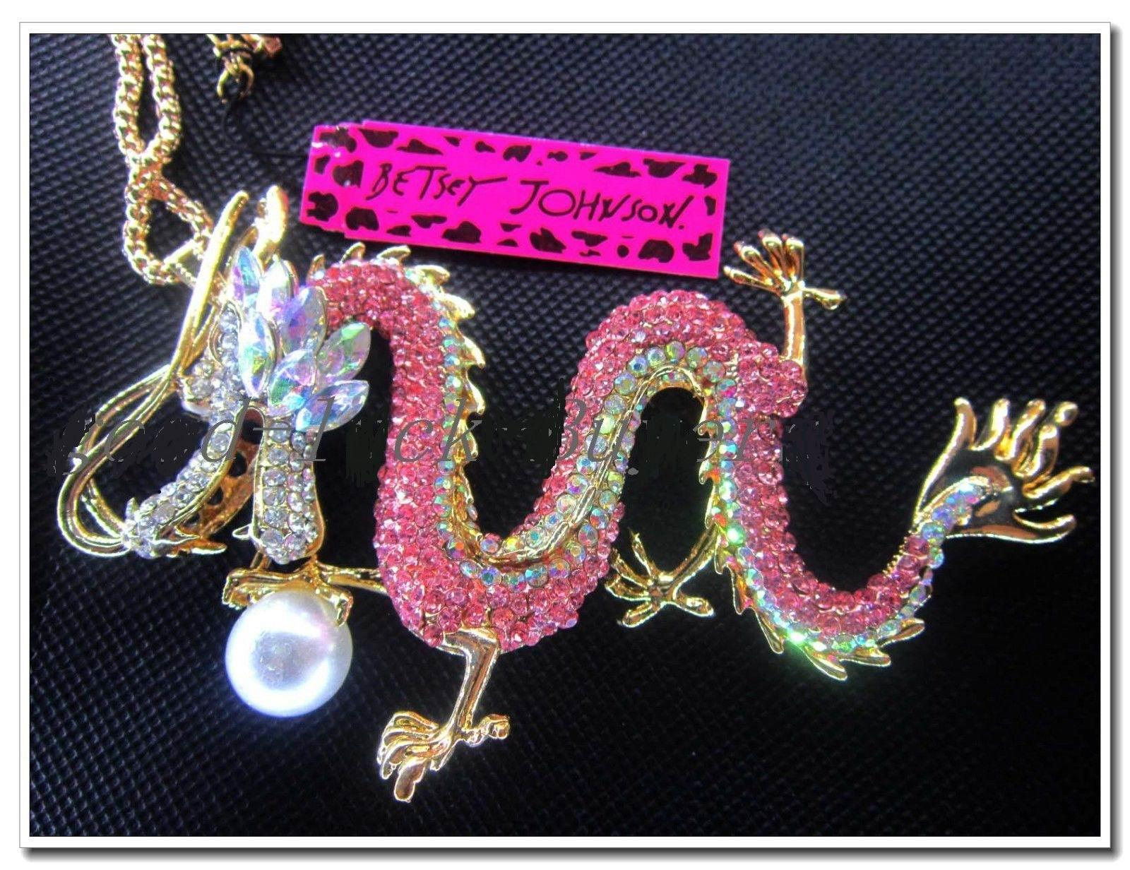Betsey Johnson Pink Color Dragon Crystal Bead Necklace Pendant ...