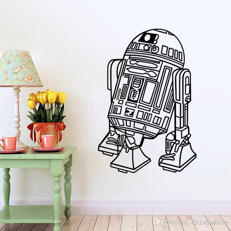 Star Wars Robot Wall Sticker Quote R2 D2 Decal Vinyl Home Decor Kids Geek  Gamer Removable Mural Bedroom Wallpaper Large Wall Decal Large Wall Decals  From ...