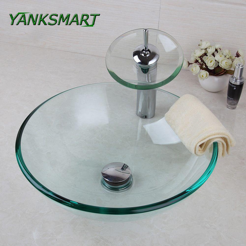 YANKSMART UK Round Transparent Washroom Basin Vessel Vanity Sink ...