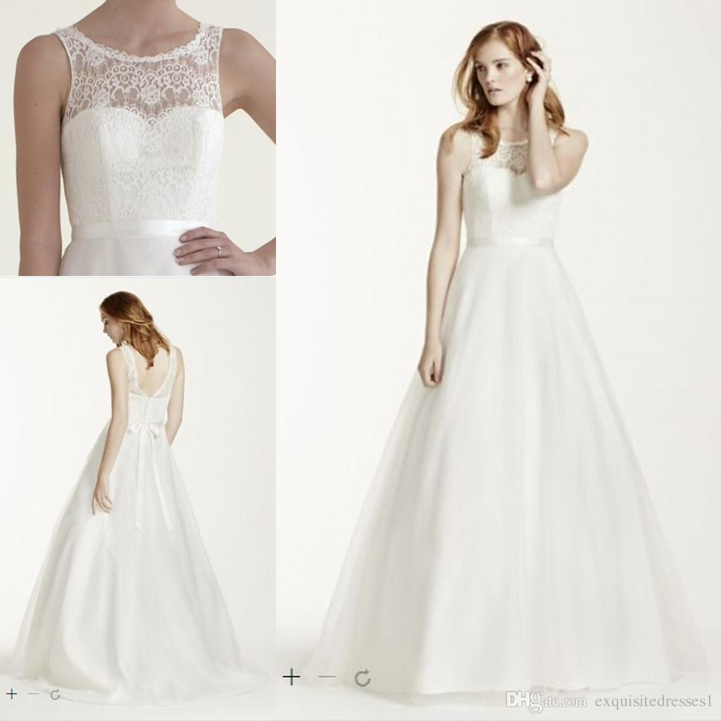 Discount Cheap Wedding Dresses Illusion Lace Tank A Line Gown With ...