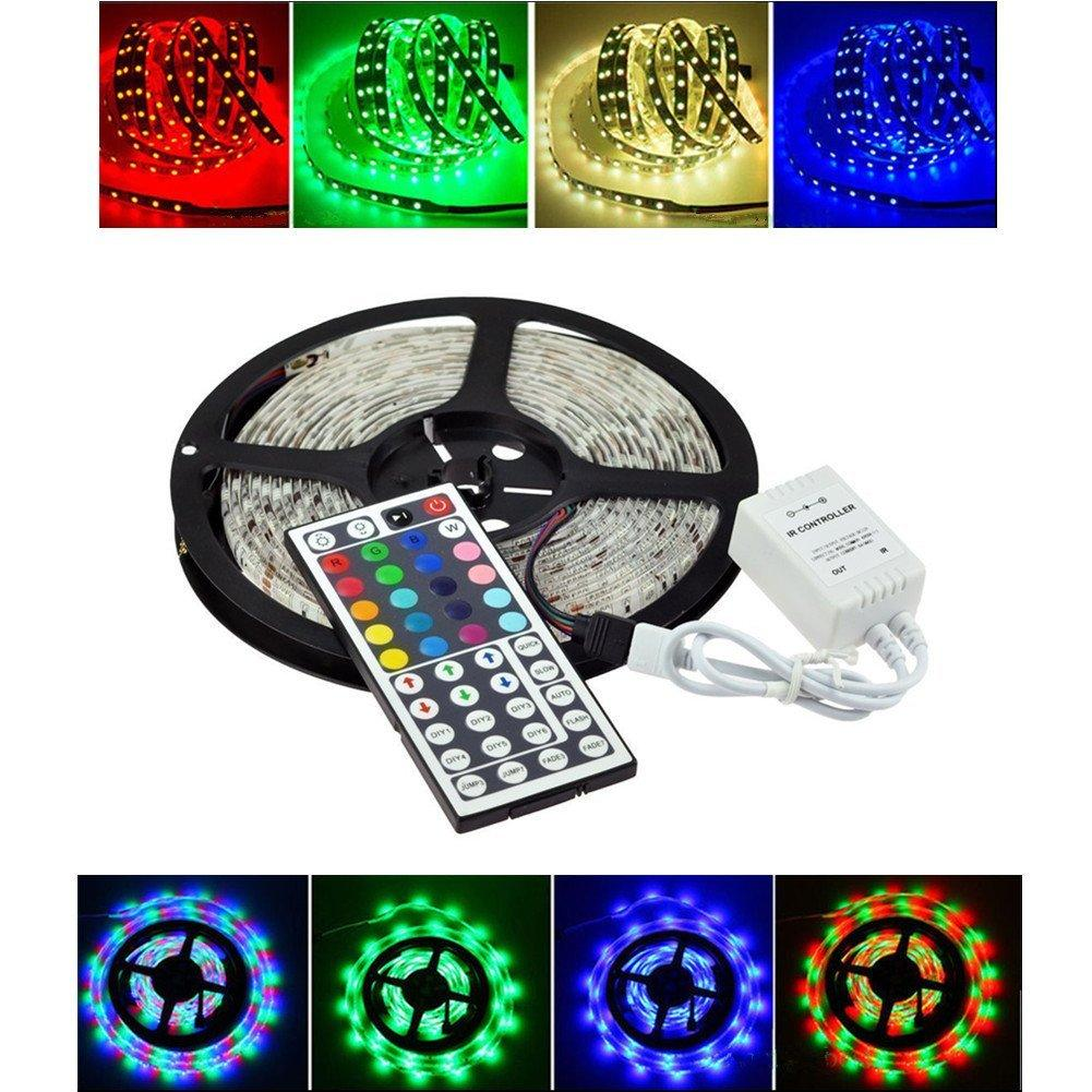 Led Light Strip 5m Waterproof Smd 5050 300leds Dc12v Flexible Ul Listed Rgb Lights By The Foot 300 Leds Per Reel Color Changing With Remote Control For Christmas Party Decoration 12v