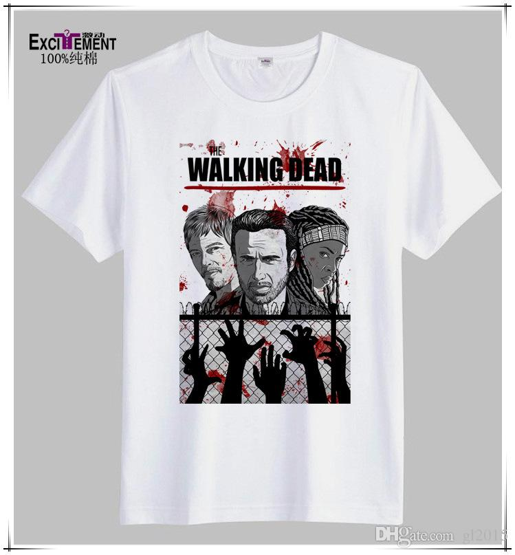 2015 Fashion The Walking Dead T Shirt Men White Printed T Shirt ...
