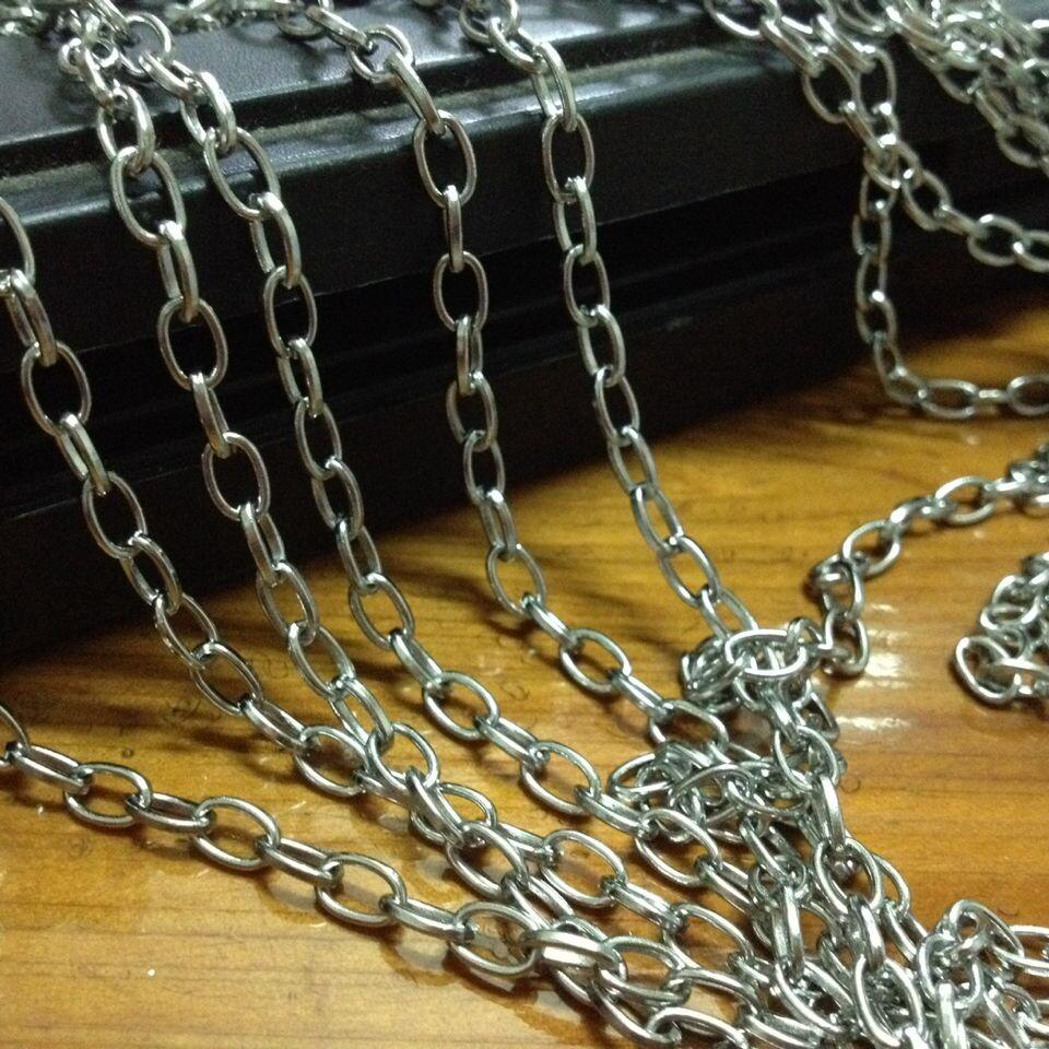 Atacado 5 metro / lote 4mm moda jóias encontrar aço inoxidável prata suave Oval Elo da cadeia de Encontrar / Marcação DIY Colar Pulseira