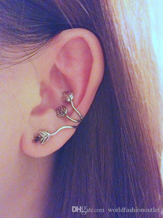 Mode oreille manchette Vintage alliage oreille Stud Feuille Conception Boucle d'oreille oreille Cuff Wrap Clip oreille boucles d'oreilles pour les femmes Clip oreille Bronze Silver Ear Stud