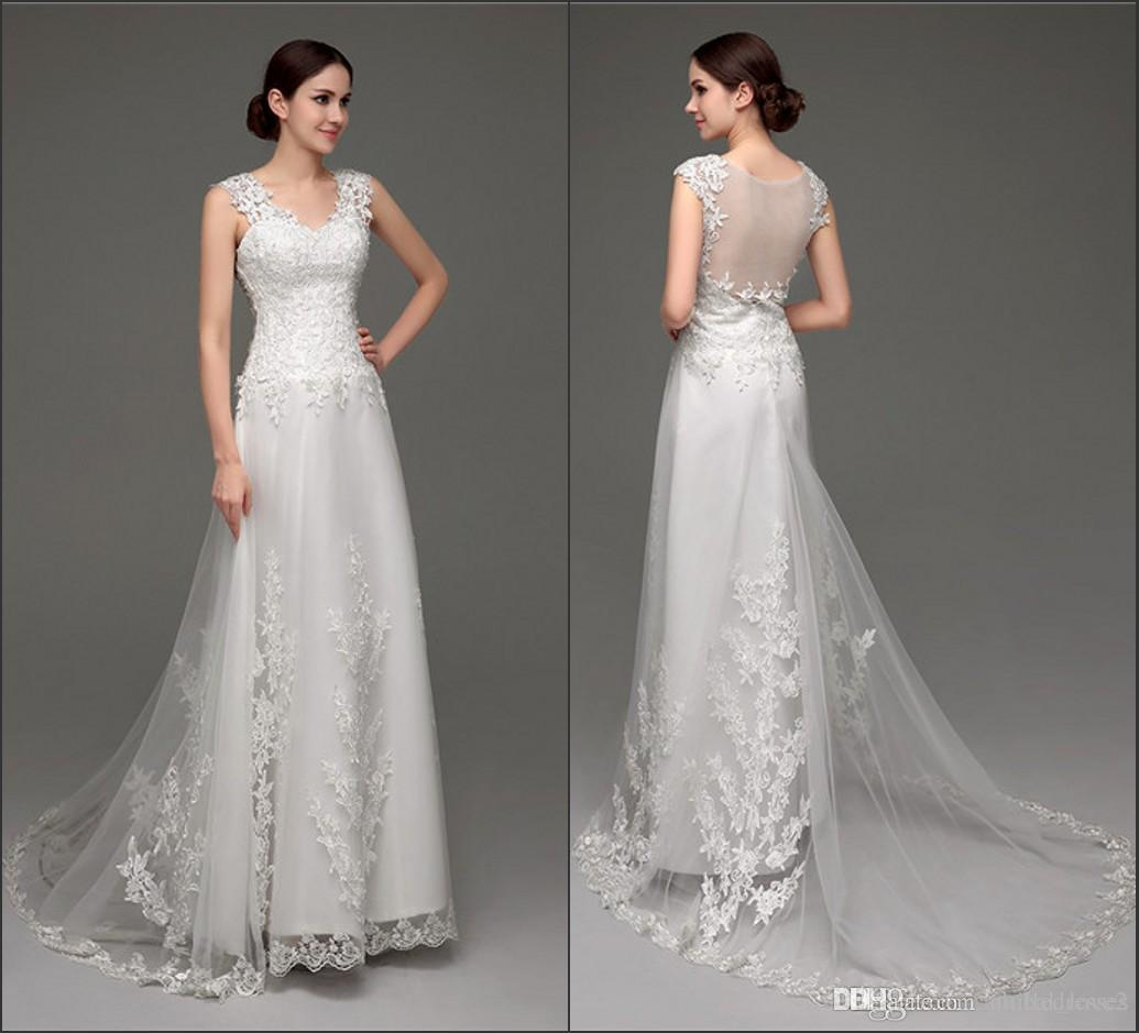 2016 lace wedding dresses elegant wedding gowns sheer back sexy