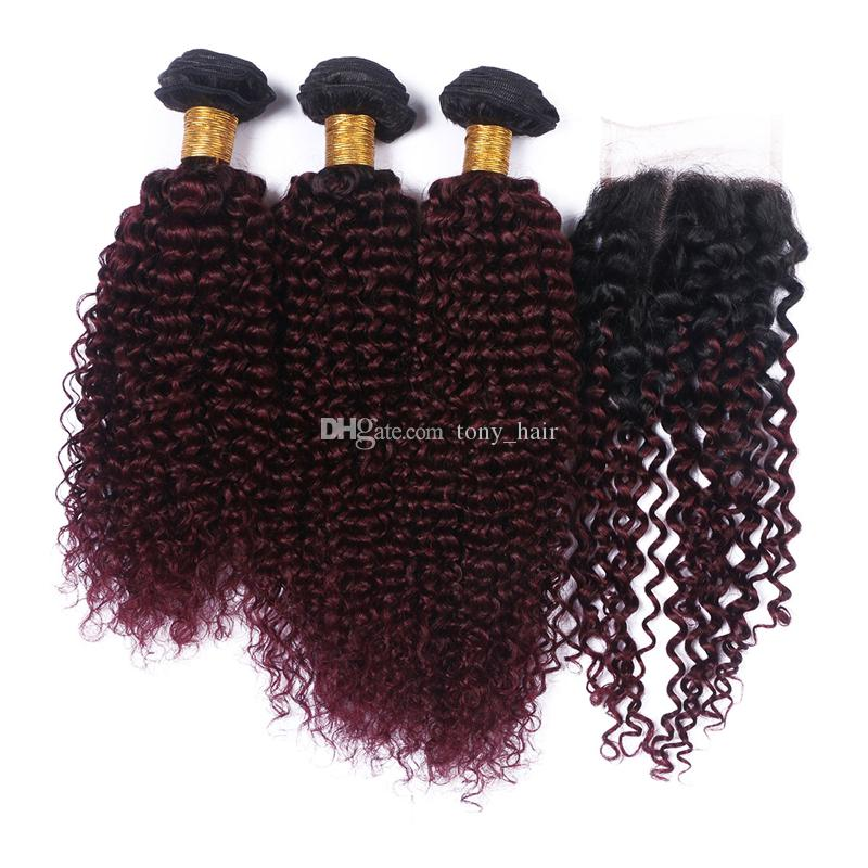 Wine Red Ombre Lace Closure with Hair Bundes 1B/99J Kinky Curly Ombre Burgundy Peruvian Human Hair Weaves with Top Closure