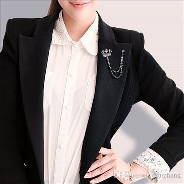 Элегантный унисекс цепи кисточкой броши для женщин ювелирные изделия офис модные аксессуары Кристалл Корона человек отворотом Pin Оптовая 12 шт.
