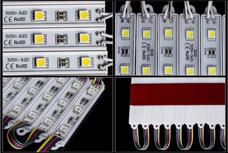 Spedizione gratuita Miglior prezzo! Modulo LED RGB 5050 DC12V Super luminoso 3 fili / pezzo IP65-Impermeabile 0,72 W la pubblicità