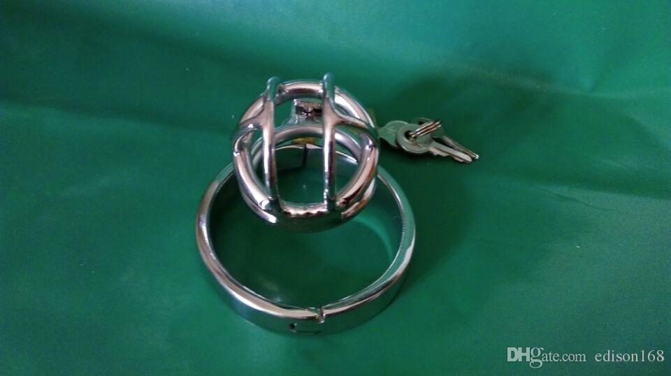 Último diseño Súper pequeño macho de acero inoxidable Cock Penis Cage Chastity Belt Device A506 Cock ring BDSM Juguetes sexuales