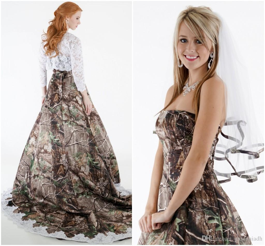 2015 lace camo wedding dresses strapless with hollow lace top long 2015 lace camo wedding dresses strapless with hollow lace top long sleeve chapel train two pieces spring camouflage bridal gowns discount designer wedding ombrellifo Image collections