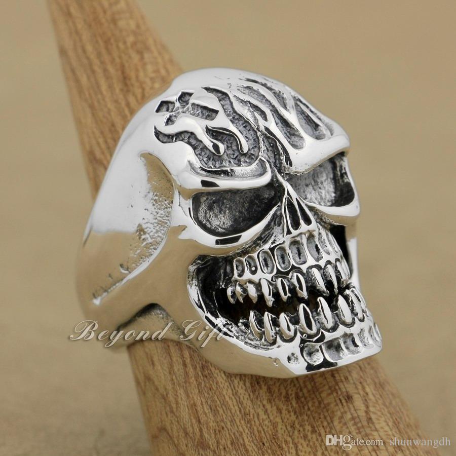 925 Sterling Silver Huge Heavy Skull Mens Biker Punk Ring 9Q019 US Size 8~14