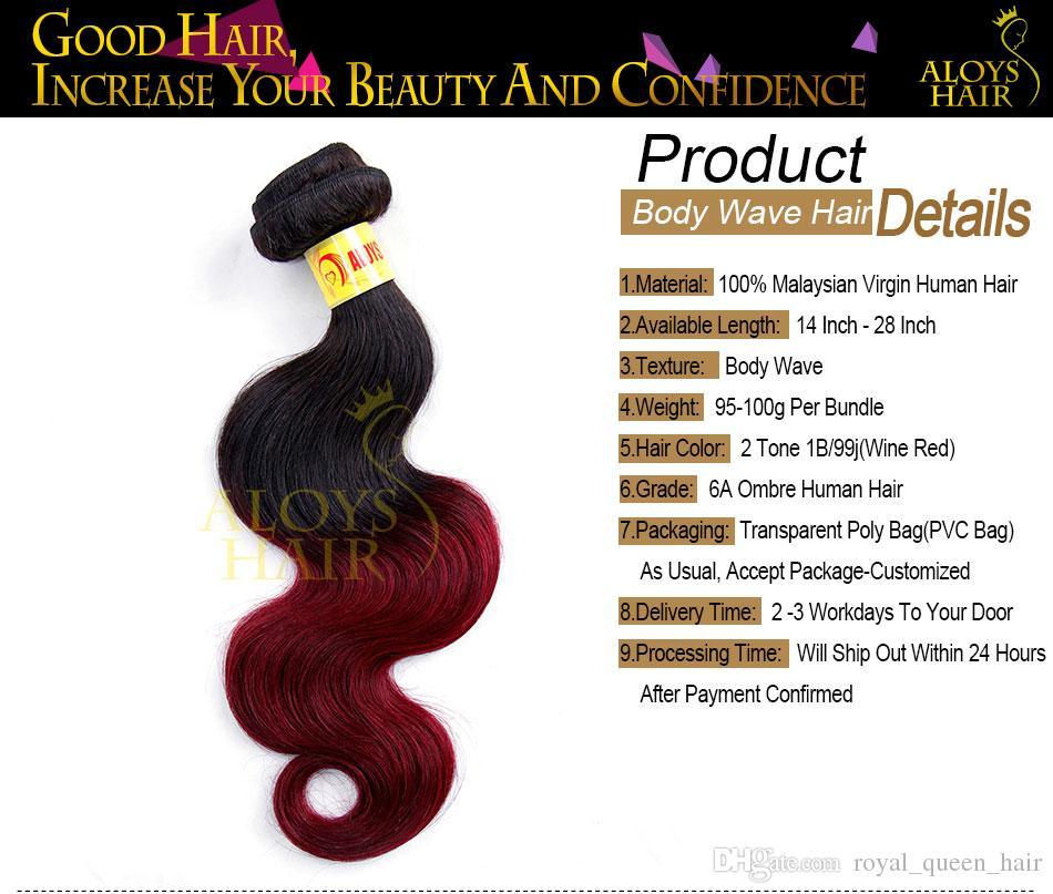 Ombre Malaisienne Vague de Corps Vierge Extensions de Cheveux Humains 2 Deux Ton 1B / 99J Bourgogne Vin Rouge Malaisienne Remy Cheveux Humains Weave Bundles Naturel
