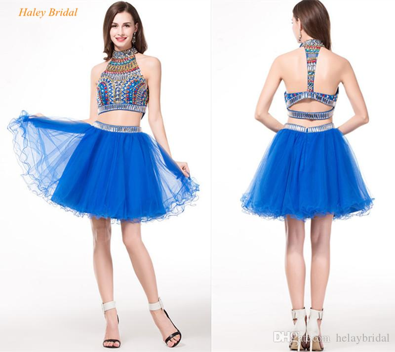 Crystal Royal Blue Two Piece Prom Dresses Ball Gowns Halter Beaded ...