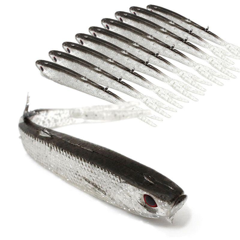 20 adet 10 cm 4g 3D Gözler Biyonik Balık Silikon Balıkçılık Cazibesi Yumuşak Yemler Lures Yapay Yem Pesca Olta Takımı Aksesuarları