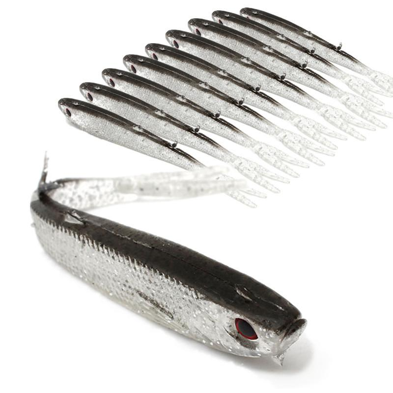 20 unids 10 cm 4g 3D Ojos Bionic Peces de Silicona Señuelos de pesca Señuelos blandos Señuelos Cebo Artificial Pesca Aparejos de pesca Accesorios