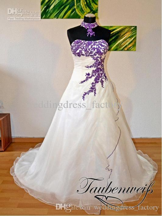 2015 white fashion sleeveless color accented applique ball for Wedding dress with color accent