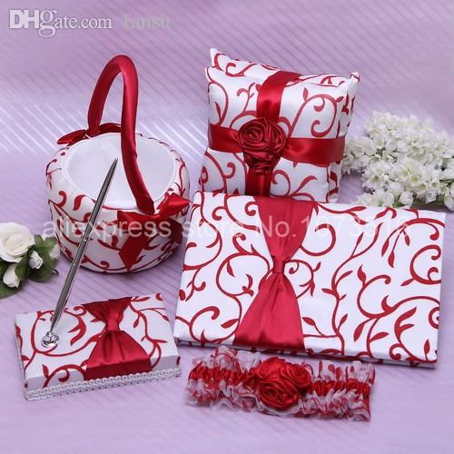 Wholesale-Wedding Ceremony Accessories Chinese Red Flower Basket Pen Guest  Book Pen Set Ring Pillow Wedding Set Ring Pillow Ring Zipper Ring 316l  Online ... 01d6e15070