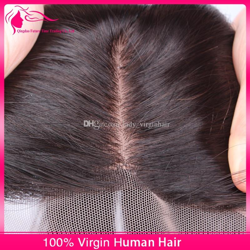 Silk Base Closure With Bundles 8A Unprocessed Peruvian Human Hair Silky Straight With Three 3 Way Part Silk Top Lace Closures