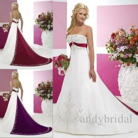 Discount White And Red Wedding Dresses 2016 Bridal Gowns With Beaded Embroidery Empire Strapless Cathedral A Line Vintage