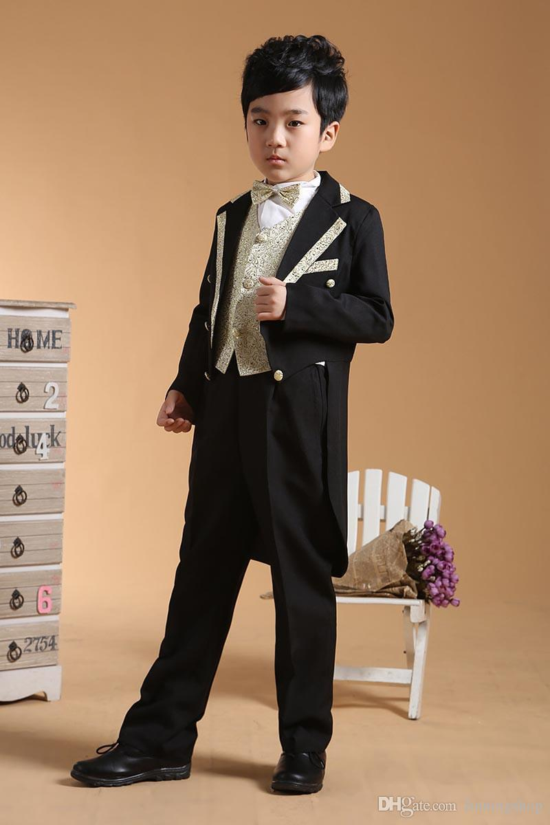 Boys Formal Occasion Tuxedo Suits=Coat+Pants+Tie+Girdle 2-13Y Children's Special Occasions Outfits Evening Party