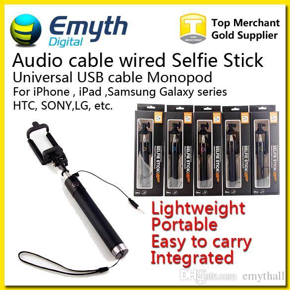 Audio cable Integrated Monopod wired Selfie Stick Extendable Handheld Wired Built-in Shutter and Clip for IOS iPhone Samsung Smart phone