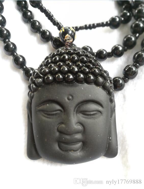 Natural Obsidian Necklace Fashion Black Ruyi Buddha Pendant For Women Men Vintage Fine Jade Jewelry Ornaments B5