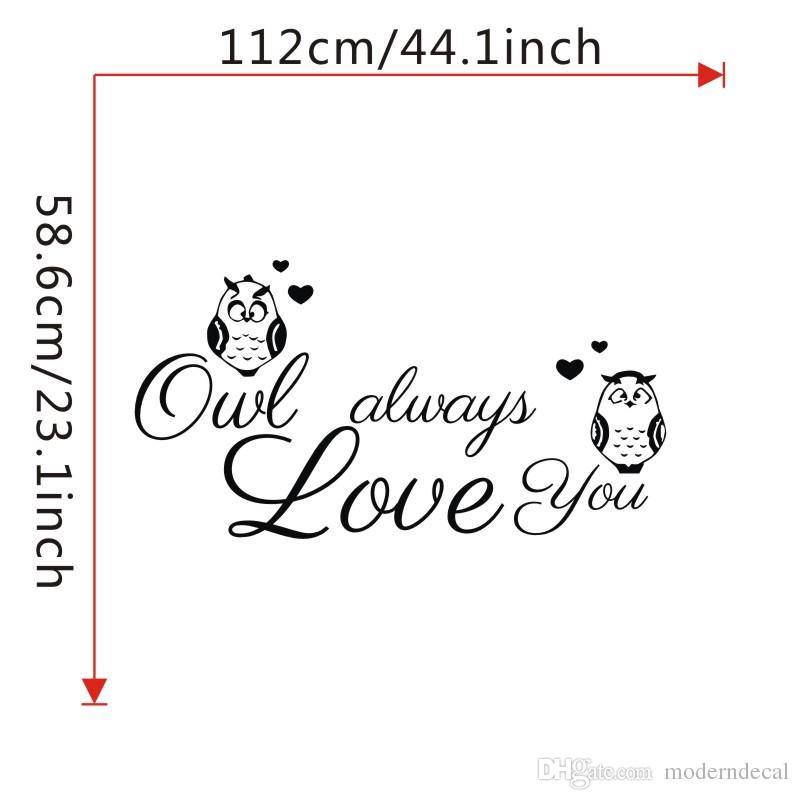 Owl Always Love You Wall Stickers For Kids Bedroom Vinyl Owls Wall Decals DIY Home Decor