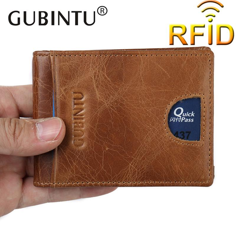 b43740b1ff48 2019 Gubintu Men Genuine Leather Money Clip Rfid Blocking Wallet For Male  Flat Wallet Mens Front Pocket Wallet Portefeuille Homme From Dhcomcn, ...