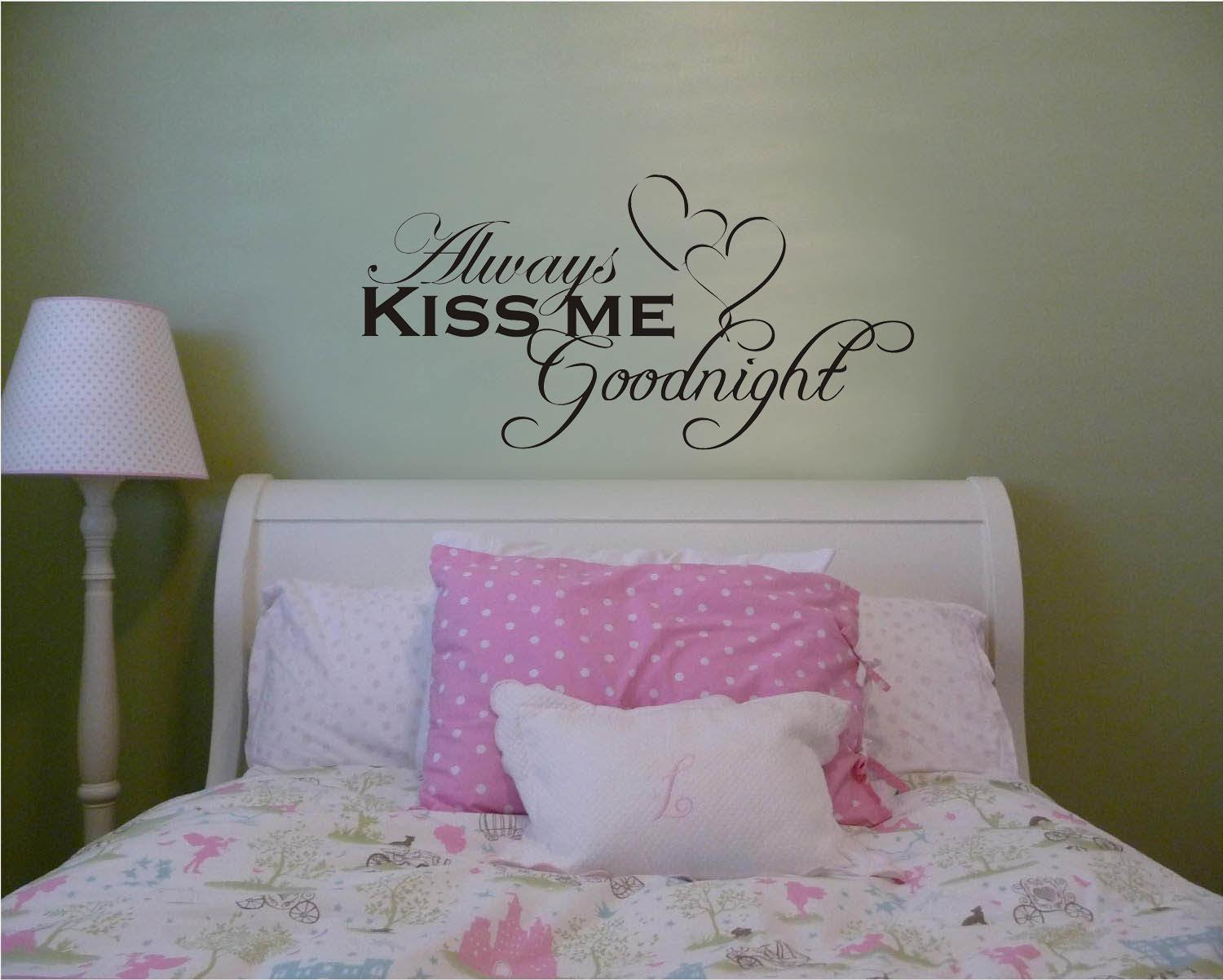 Always Kiss Me Goodnight Hearts Wall Decal