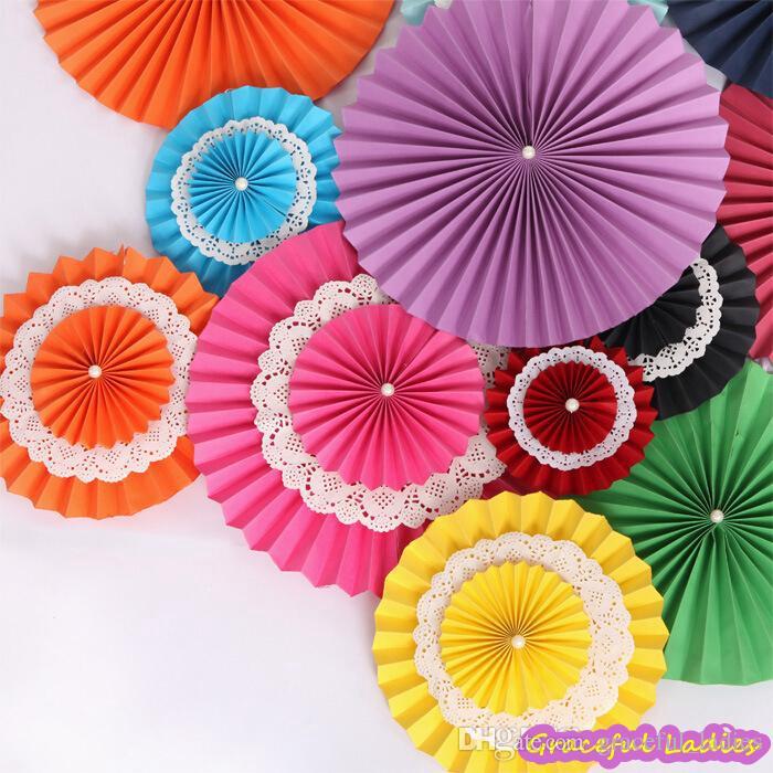 High Quality Wedding Fans Dcor Foldable Tissue Paper Wheel Fan