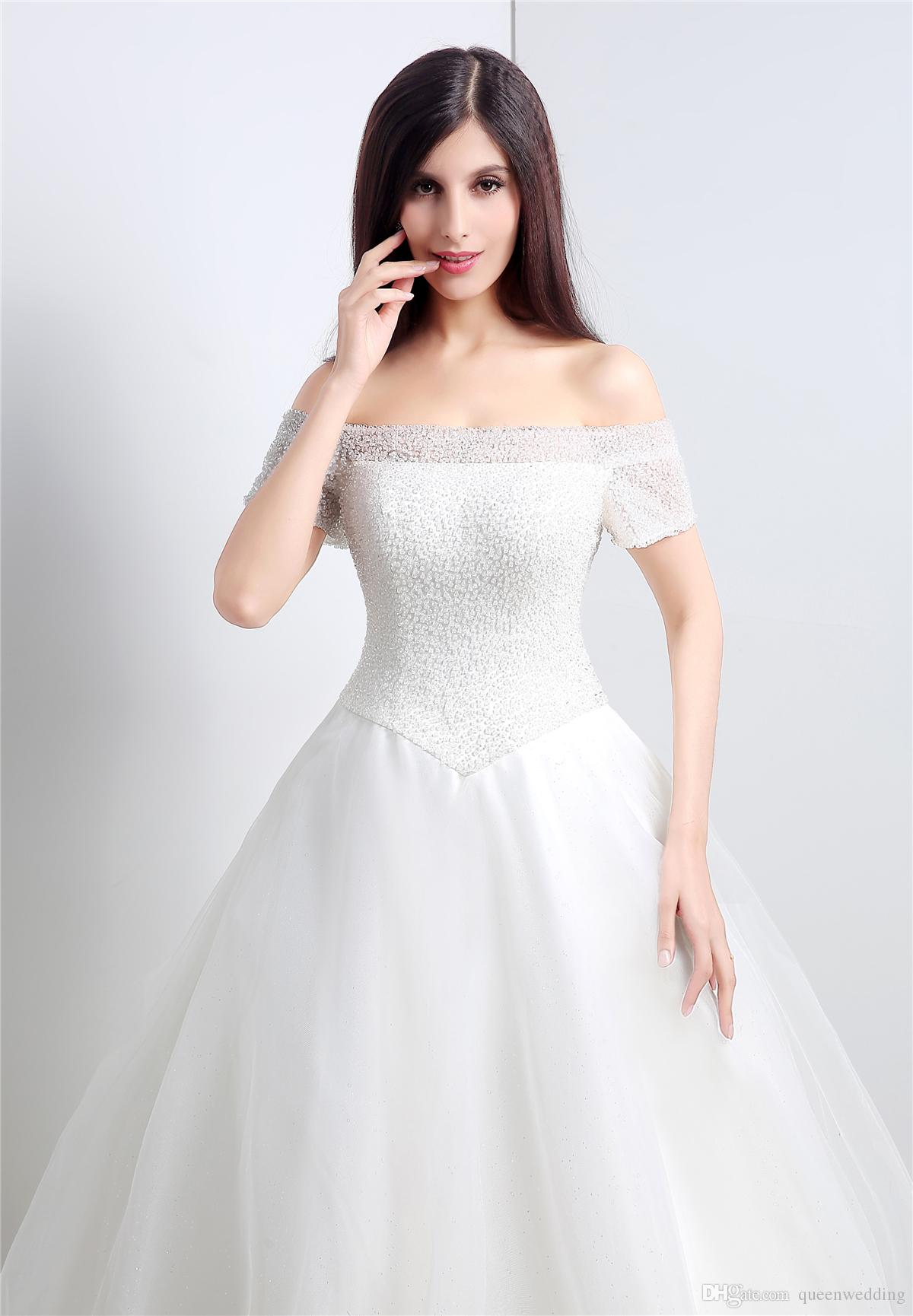 Romantic Long 2015 Wedding Dresses Boat Neck Ball Gown