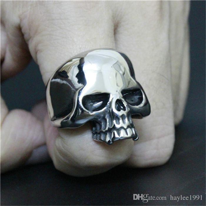 Pupolar Ghost Skull Ring 316L Stainless Steel Biker Style Lastest Cool Skull Ring