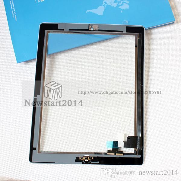 Für iPad 2/3/4 Freies DHL Verschiffen Qualitäts-Touchscreen Digitizer Assembly Kompletter Ersatz mit Home Button Klebeband