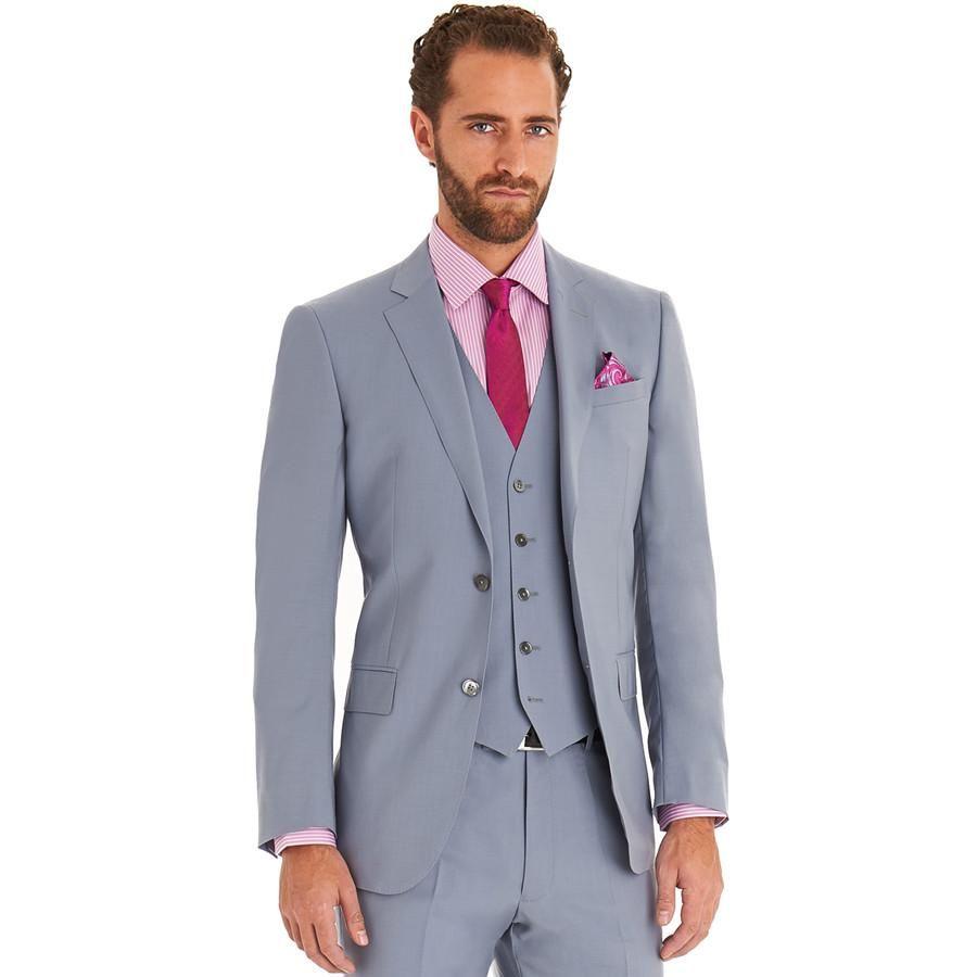 Tuxedos Mens Wedding Suits Slim Fit Light GreyJacket+Pants+Vest+ ...