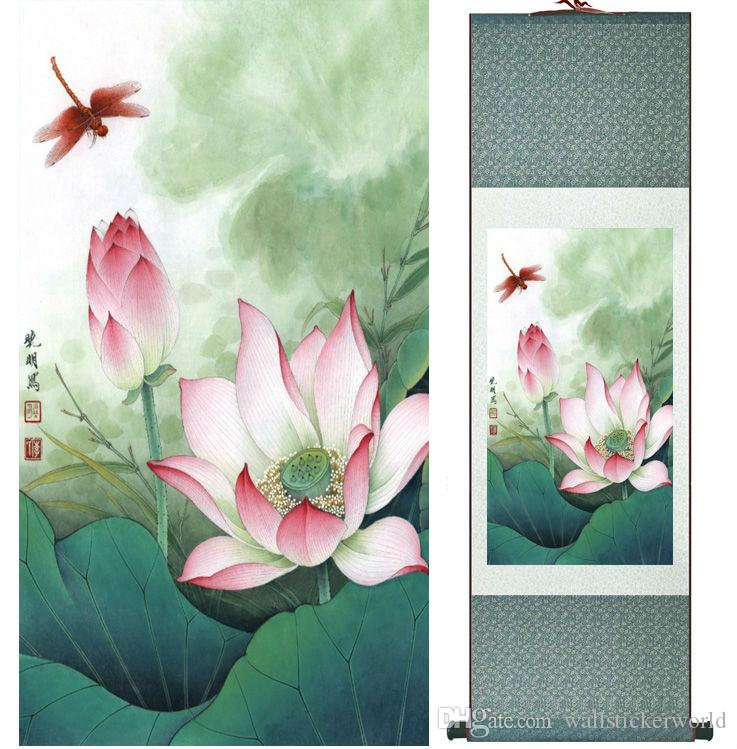 HD Printed Lotus Flower Wall Pictures Chinese Scroll Silk Wall Art Poster Picture Painting Home Decoration Wall Hanging