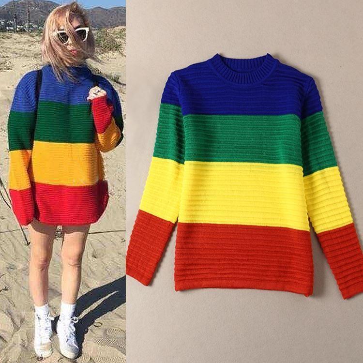 c00125ad4e Autumn Unif Knitted Rainbow Colored Sweater Coat Female Big Wide ...