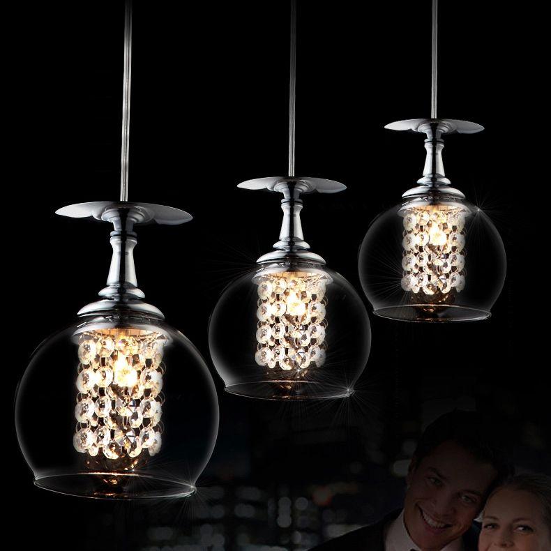 Acheter fumat verre à vin clair moderne cristal lustre k9 cristal salon chandelier de restaurant suspension légère suspension office light fixtures de
