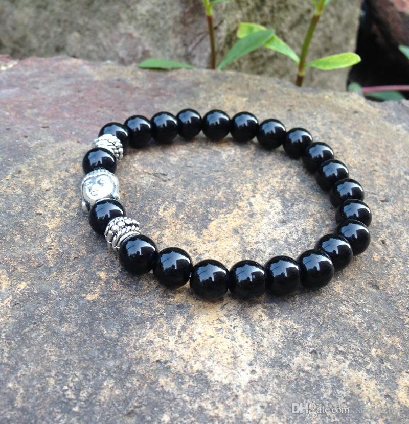 SN0369 2015 Nieuwe Natuursteen Armband Mannen Antieke Zilveren Boeddha Armband DIY Charms Mala Yoga Sieraden