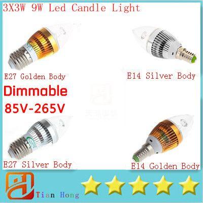 Candle Light E14 E27 E12 Led Candle Lamp 3X3W 9W Dimmable Led lamp 85V-265V Led Bulbs Energy Saving