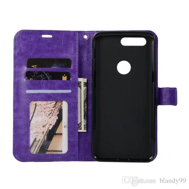 For Oneplus 5T Crazy horse wallet leather PU phone cover Case For Oneplus 5