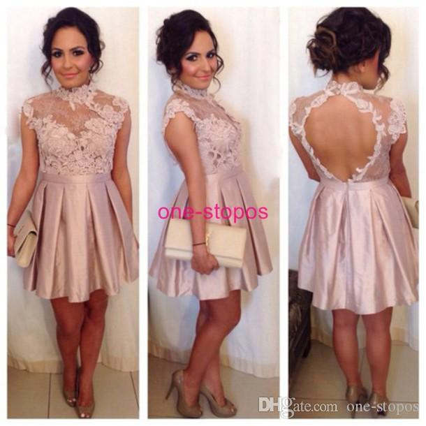 Blush Lace High Neck Short Graduation Dresses Cap Sleeve Sexy Open Back Homecoming Prom Dress Women Cocktail Party Dress