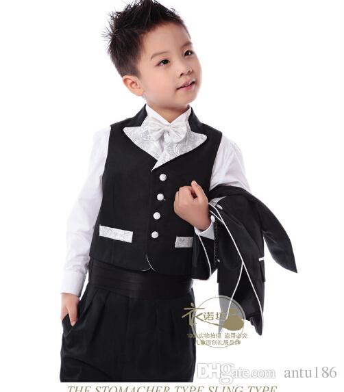 Kleine Jungenklage Kinder Hochzeit Blume Jungen Performance Wear passt im Frühjahr Herbst formelle Kleidung Jacke + Hose + Weste Maßarbeit