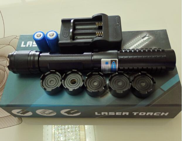 AAA NEW Special offer High Power Military Watt 5in1 450nm blue laser pointers SOS LAZER flashlights hunting teaching lazer+charger+gift box