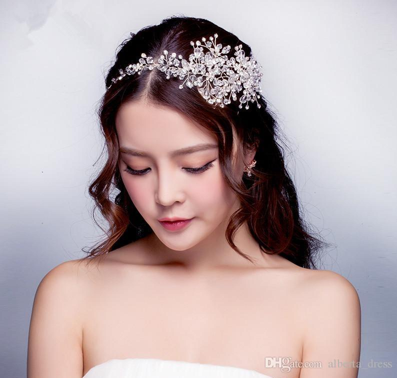 2019 Abiti da sposa Accessori capelli Corea Brillante matrimonio Nuziale velo di cristallo Perle finte Tiara Crown Accessori capelli fascia la festa