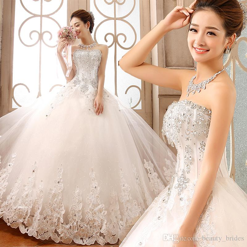 2015 Luxury Sparkle Crystallace Wedding Dresses Ball Gown Beads ...