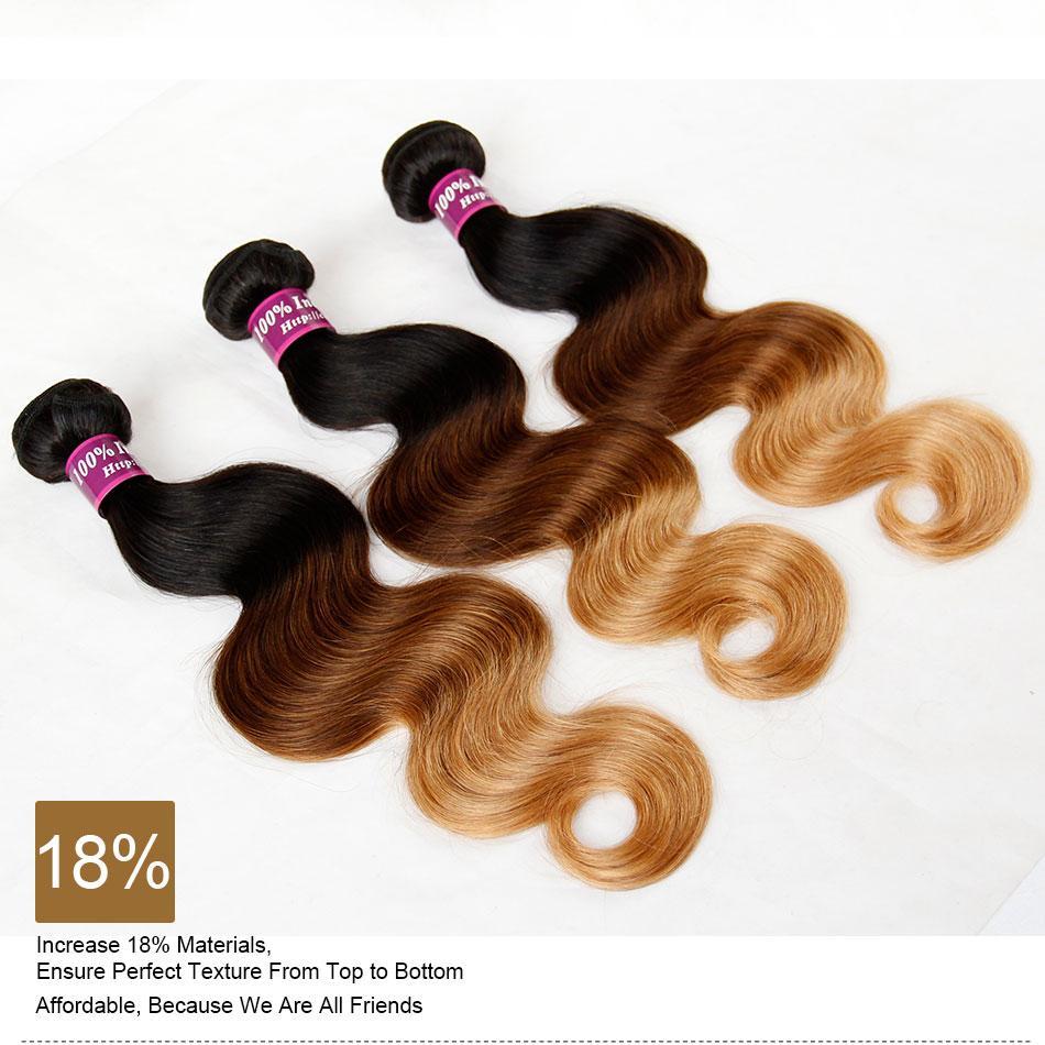أومبير الهندي ريمي الشعر نسج الصف 8a أومبير الهندي الجسم موجة عذراء الشعر البشري 3 قطع ثلاثة لهجة 1b / 4/27 # براون شقراء