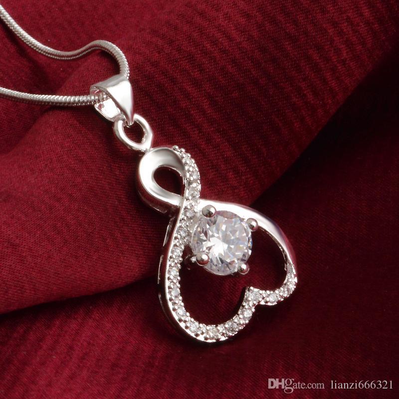 Frete grátis moda de alta qualidade 925 prata Soulmate White diamond jewelry 925 colar de prata presentes do feriado do Dia dos Namorados hot 1671