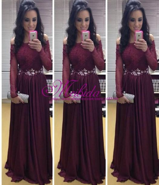 Custom Made Lace Applique Off-Shoulder Long Sleeve A-Line Long Formal Evening Dress With Sash Sexy Prom Gowns Mother Of The Bride Dresses